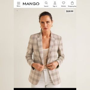 Check structured blazer MANGO